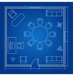 Office floor plan with linear symbols vector image
