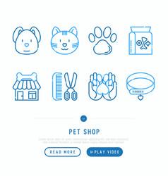 pet shop thin line icons set vector image