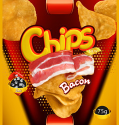 Potato chips bacon flavor design packaging 3d vector