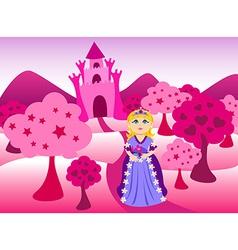 Princess and pink castle landscape vector image