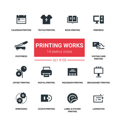 Printing works - line design silhouette icons set vector