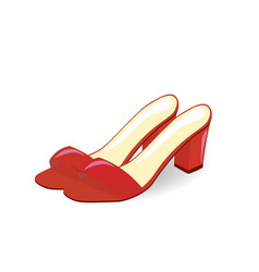 red sandals with open back vector image