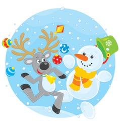 Reindeer and Snowman dancing vector