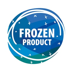 Round logo for frozen foods with snowflakes vector