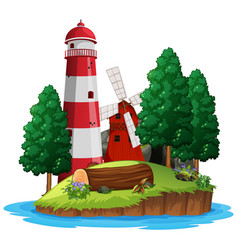 scene with lighthouse and windmill on white vector image
