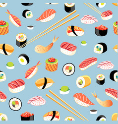 Seamless bright pattern with different sushi vector