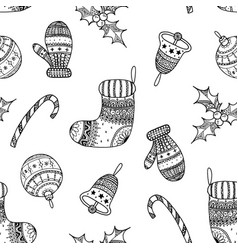 seamless pattern of black christmas symbols vector image