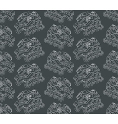 seamless pattern with roller skates on a gray vector image
