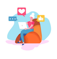 senior woman sit on armchair at home with laptop vector image