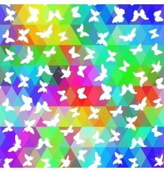 Set butterflies cicada with colored rhombus vector
