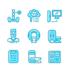 Set color line icons of magnetic resonance imaging vector