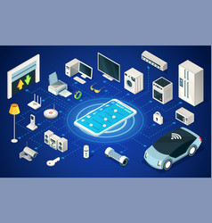 set digital home devices connected wi-fiiot vector image