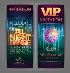 Set disco background banners all night dance vector
