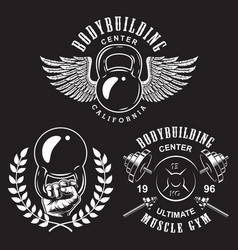 set of bodybuilding emblems vector image vector image