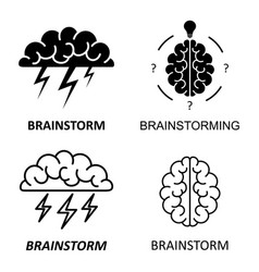 set of brain brainstorming idea icons vector image