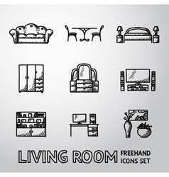 Set of Living Room freehand icons - sofa dining vector image