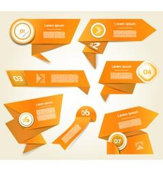 Set of orange progress version step icons eps 10 vector