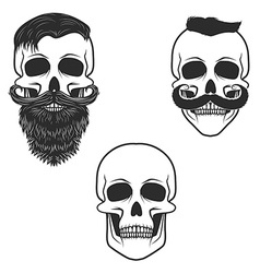 Set of skulls with mustache and beard vector