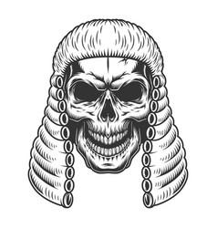 Skull in the judge wig vector