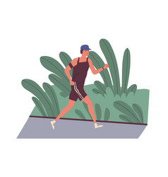 smiling young man jogging outdoors in morning vector image