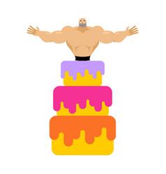 stripper from cake congratulation pretty boy vector image