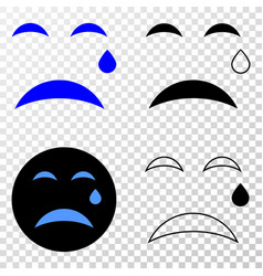 tear smiley eps icon with contour version vector image