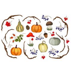 Thanksgiving decoration set vector