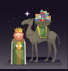 Three kings day with king caspar camel and gifts vector