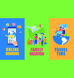 touristic services ad flyers flat set vector image