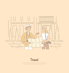 tourists with map looking for destination friends vector image