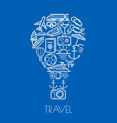 Travel poster tourism hot air balloon vector