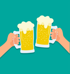 two hands holding beer glasses vector image