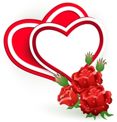 Two hearts and rose vector image