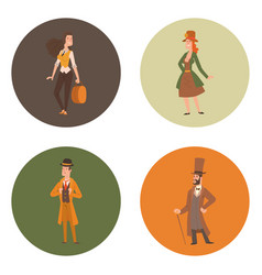 vintage victorian cartoon gents retro people vector image