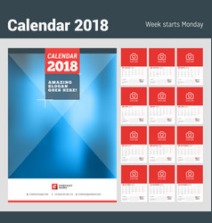 wall calendar planner for 2018 year set of 12 vector image