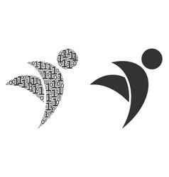 Winged man mosaic of binary digits vector