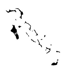 black silhouette country borders map of bahamas vector image