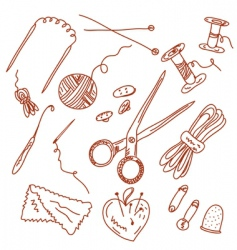 sewing and knitting doodles vector image vector image