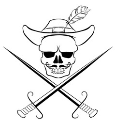 Skull with crossed swords vector image vector image