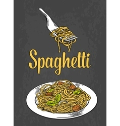 Spaghetti on fork and plate Engraving color vector image
