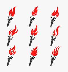 torch symbol set vector image vector image