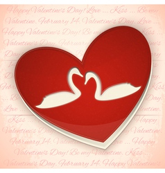 Valentines Card Heart with Swans vector image