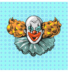 vintage clown pop art comic style poster vector image vector image