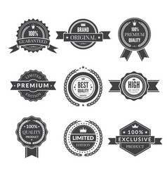vintage template of monochrome premium labels for vector image vector image