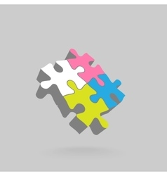 Abstract 3D puzzle design element vector image