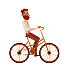 bearded man in vest and bow tie riding bicycle vector image