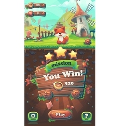 Feed the fox GUI you win mission window vector image vector image