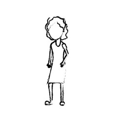figure woman with hairstyle and dress design vector image