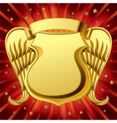 gold shield with wings vector image vector image