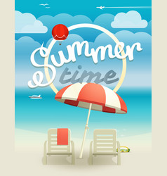 summer time concept beach landcape with chairs vector image vector image